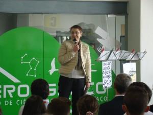 Ana Noronha directora do Ciência Viva faz a apresentação do projecto CanSAT 2015