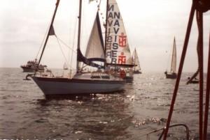 Entrada do veleiro CASVIC na barra de Lisboa depois de uma viagem à volta do Mundo que durou 2 anos.