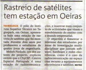 Noticia difundida pelos professores do IST acerca da colocação em funcionamento do CEP, projecto da autoria do Observatório Aeroespacial de Oeiras