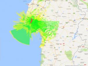 Nesta imagem, estudo das ligações por rádio em L.O.S. nas faixas frequências de VHF e UHF, dentro e para fora dos concelhos de Oeiras e Odivelas no distrito de Lisboa.