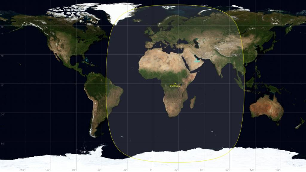 Área de cobertura do satélite QO-100